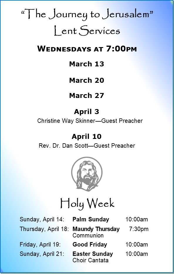 Lent Mid-week Services at 7:00pm